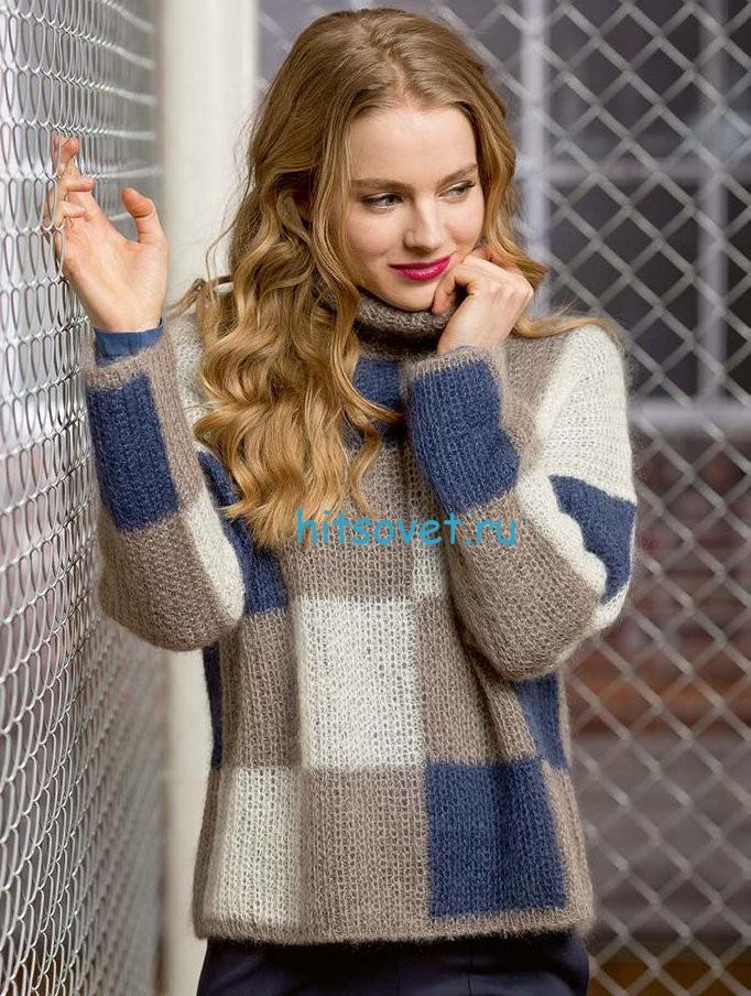 Стильный пуловер в клетку. Вязание спицами