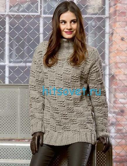 Женский свитер с узором окошки, фото.