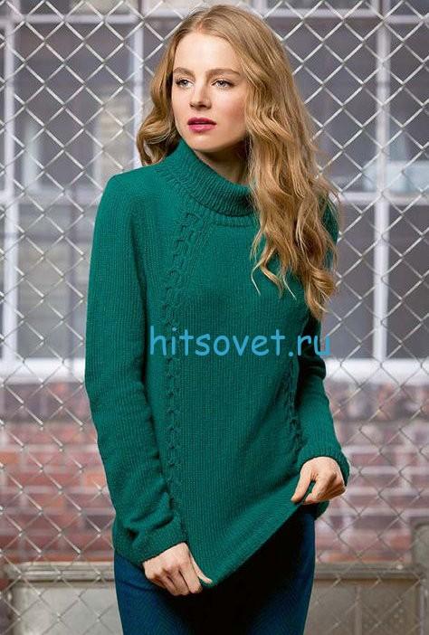 Вязаный свитер женский с косами, фото.