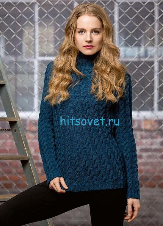 Женский свитер с косами схема и описание