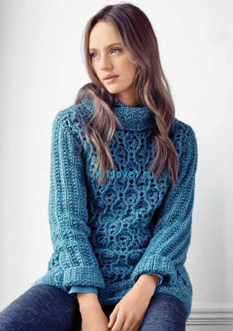Модный свитер с ажурным узором, фото.
