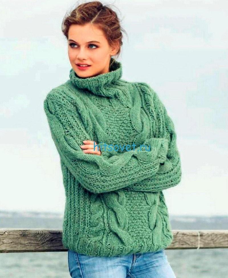 Женский свитер с косами, фото.