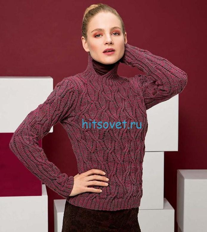 Розовый свитер с ажурными косами