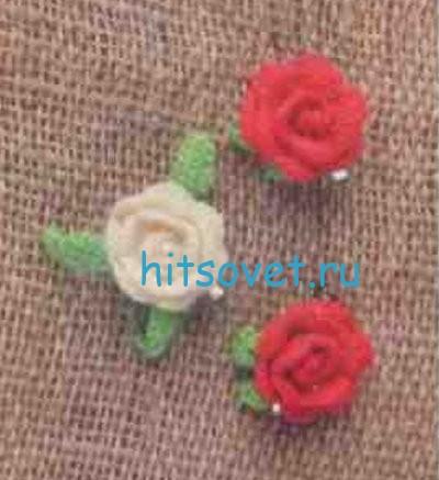 Вязание заколки розочки крючком, фото 2.