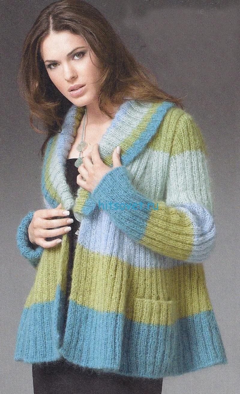 вязaние длинный свитер нa молнии