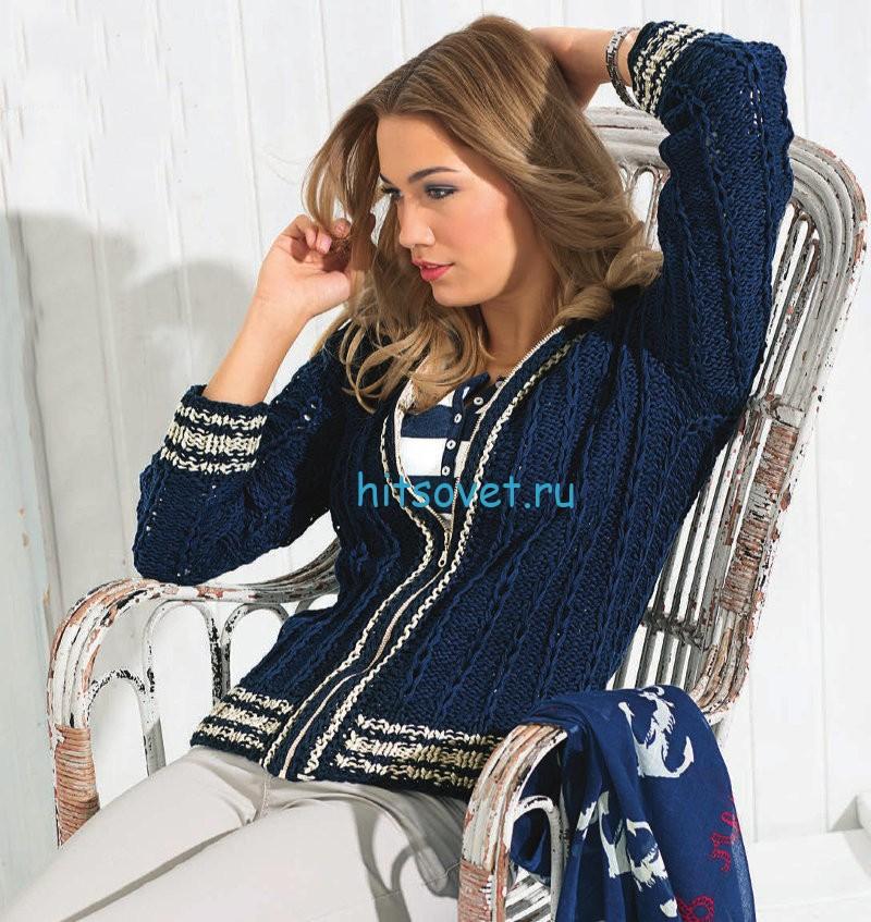 Вязание модного жакета с капюшоном