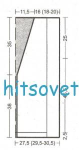 Безрукавка спицами жемчужным узором, выкройка.