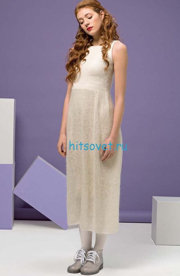 Белое платье спицами с узором