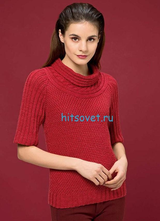 Женский красный пуловер