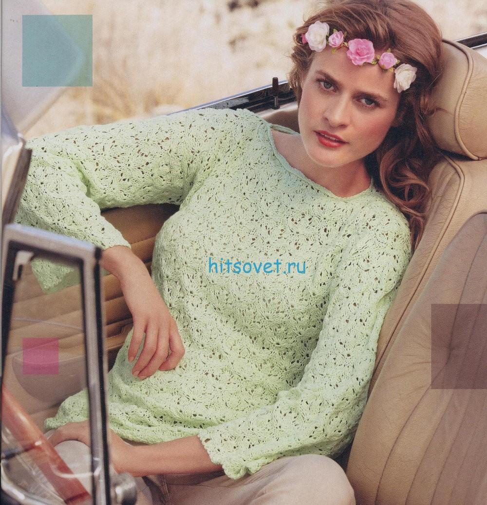 Модный летний пуловер для девушки