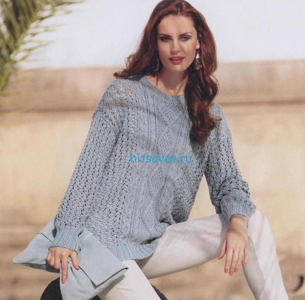 Модный свободный пуловер с косами