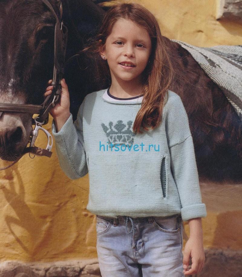 Вязание для девочек пуловера с короной