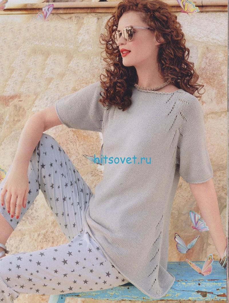 Стильный пуловер с короткими рукавами схема
