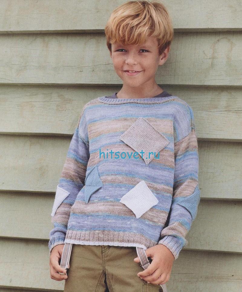 Вязание для мальчика пуловера с заплатками