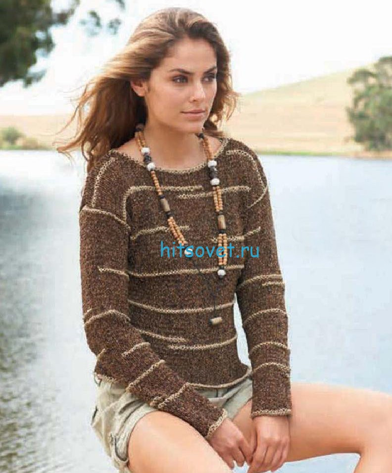 Вязание пуловера с поперечными полосами