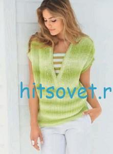 Вязаный пуловер с V-образным вырезом из пряжи Fine Degrade