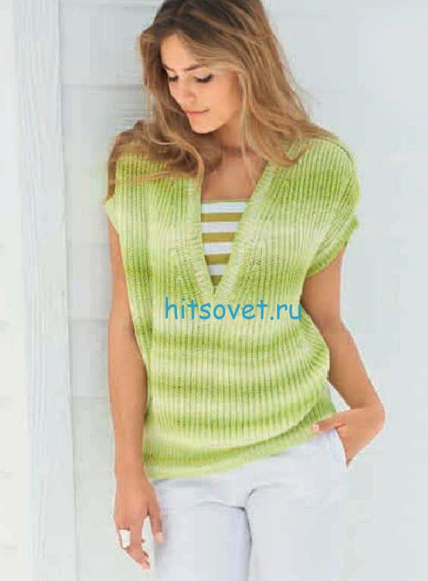 Пуловер с V-образным вырезом для девушки