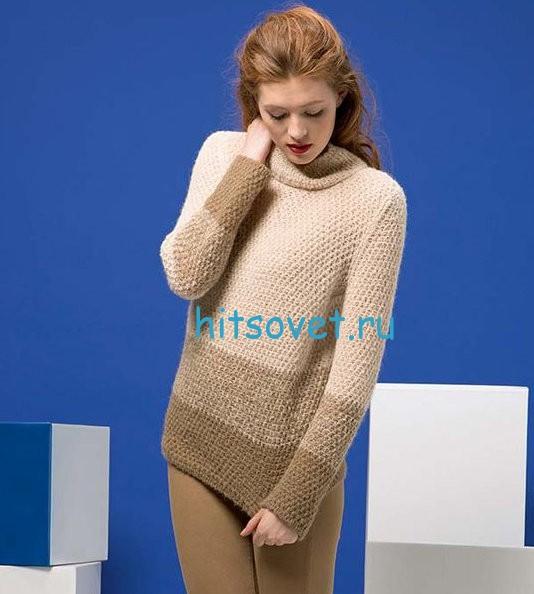 Трехцветный пуловер для девушки