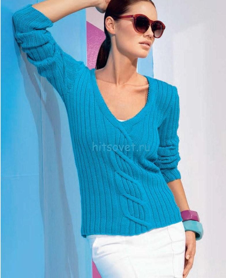 Вязание модного пуловера с V-образным вырезом