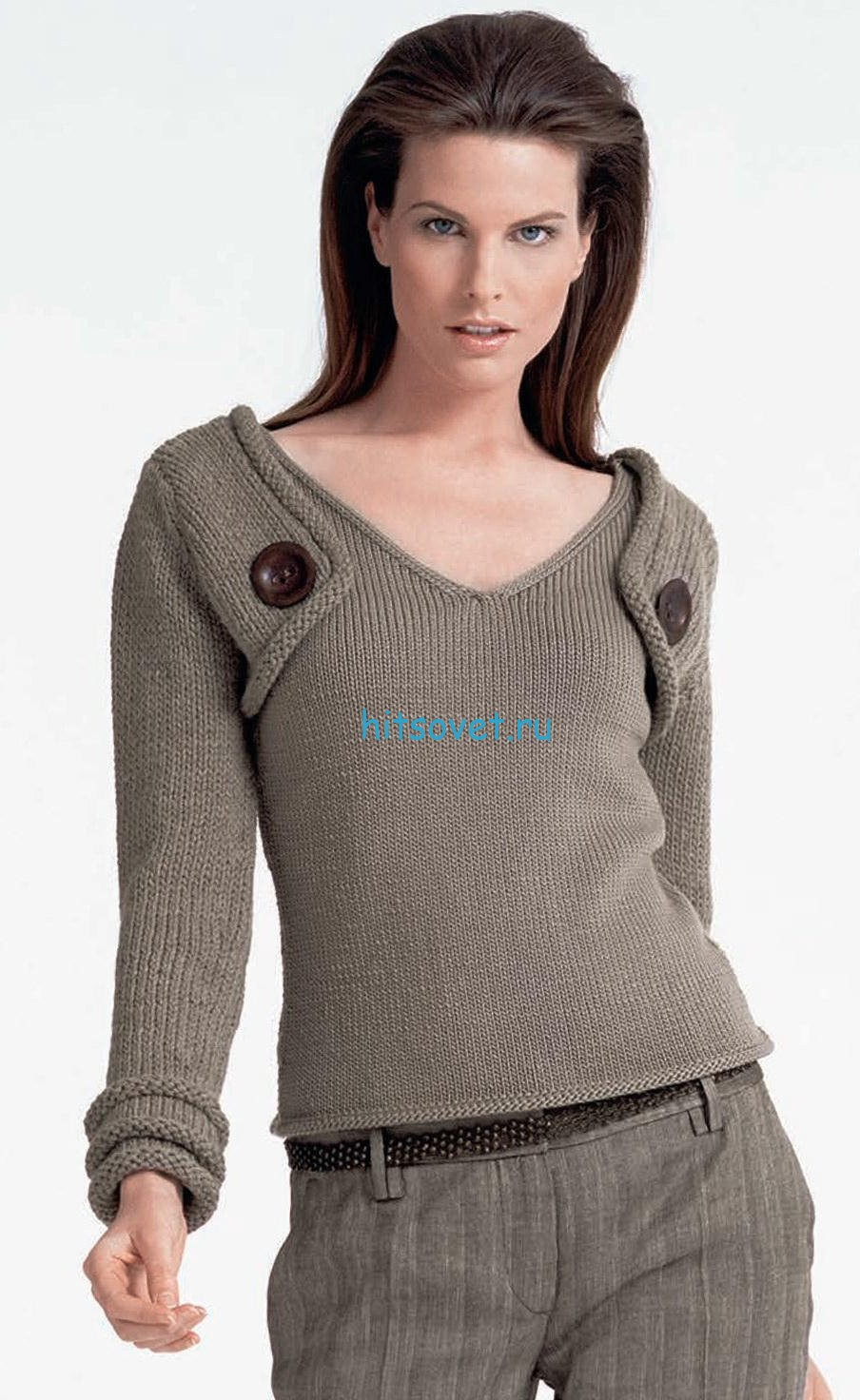 Стильный пуловер женский спицами