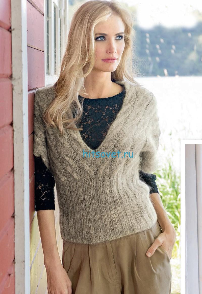 Вязание модного пуловера с косами, фото.