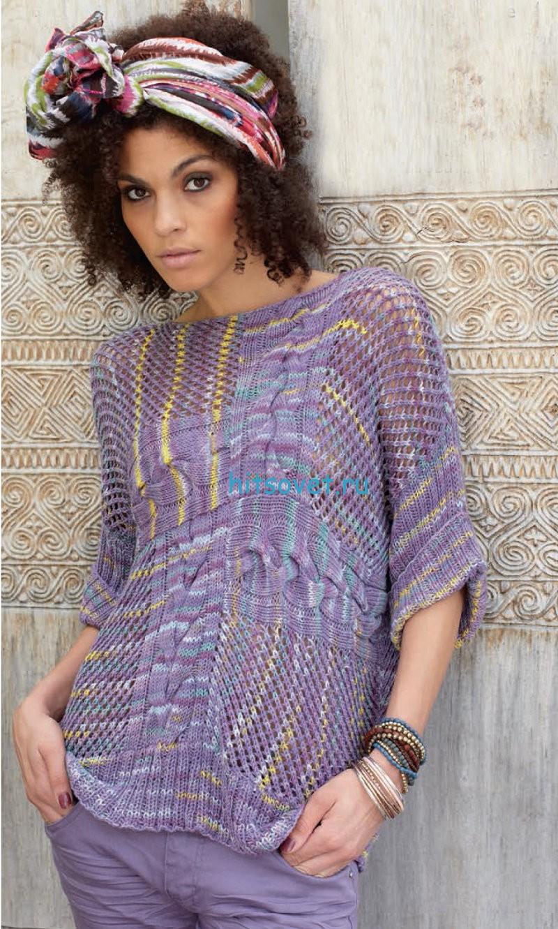 Пуловер со спущенными петлями схема, фото.