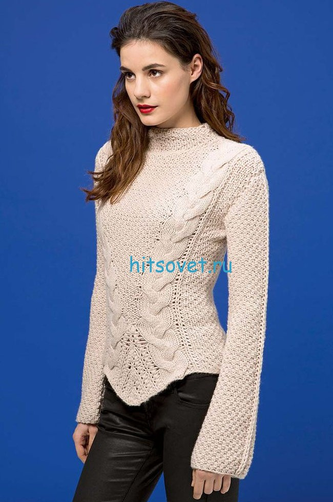 Красивый пуловер с косами