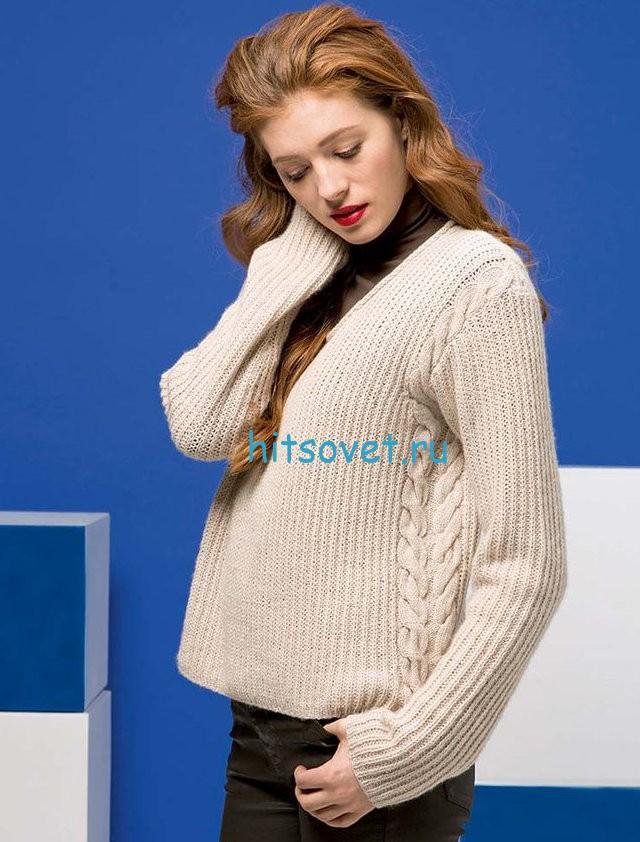 Свободный пуловер с косами, фото.