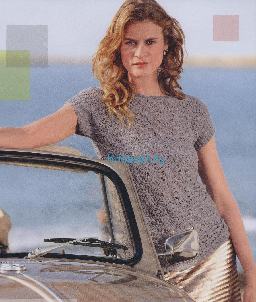 Стильный пуловер с короткими рукавами спицами, фото.