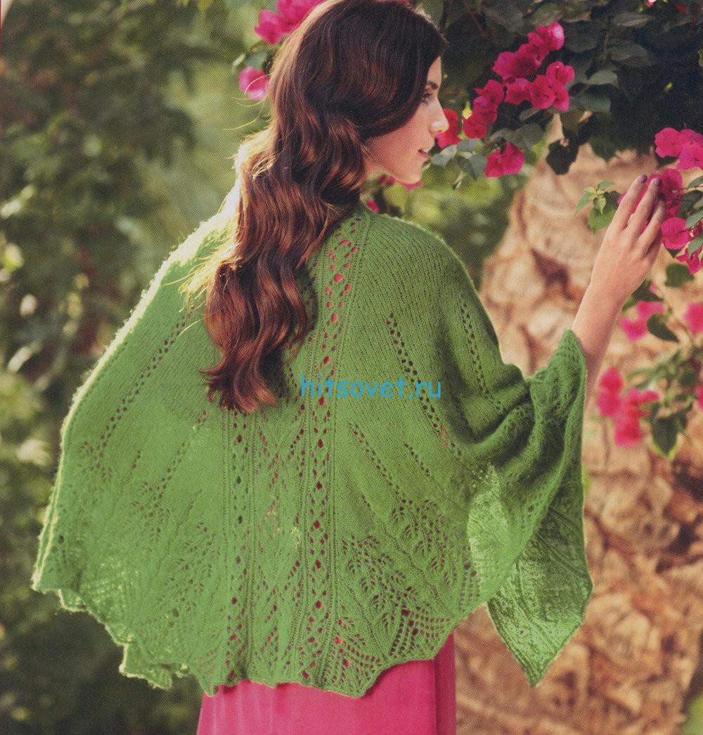Вязание шали зеленого цвета