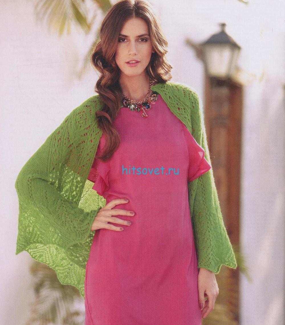 Вязание шали зеленого цвета, фото 2.