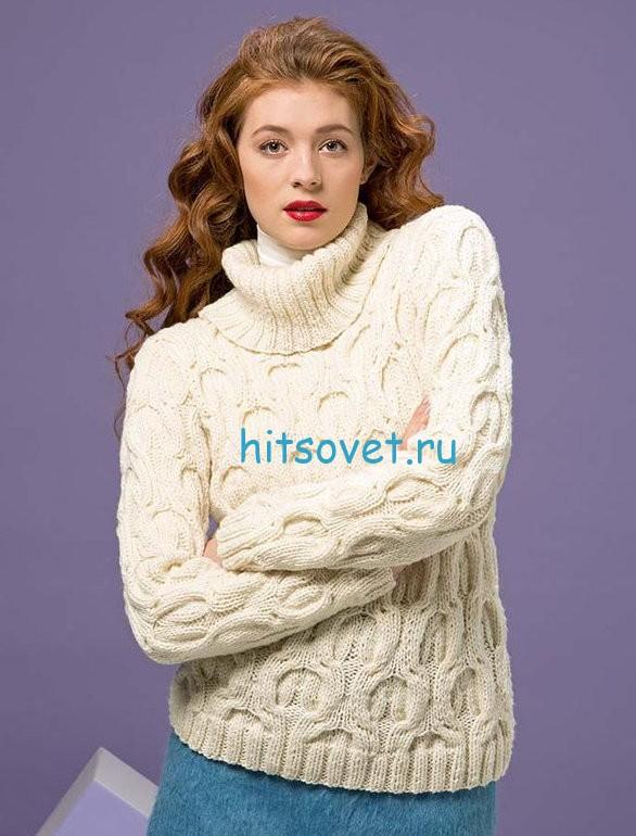 Белый узорчатый свитер спицами, фото.