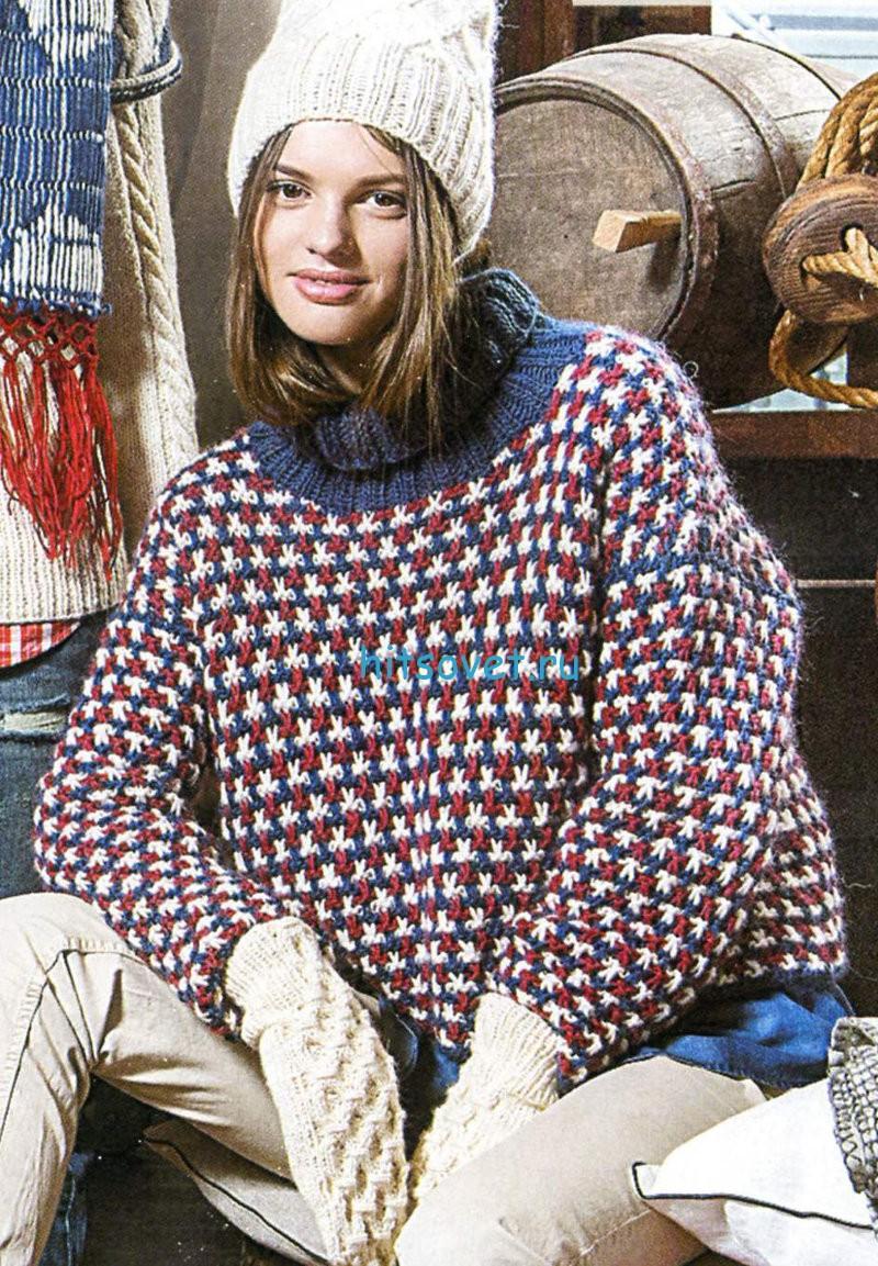 Разноцветный свитер спицами
