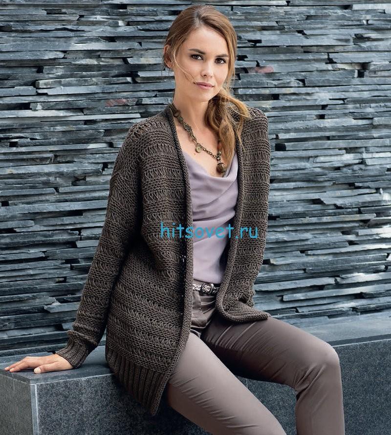 Вязание жакета с плетеным узором