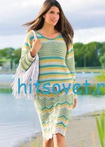 Трёхцветный пуловер и юбка спицами