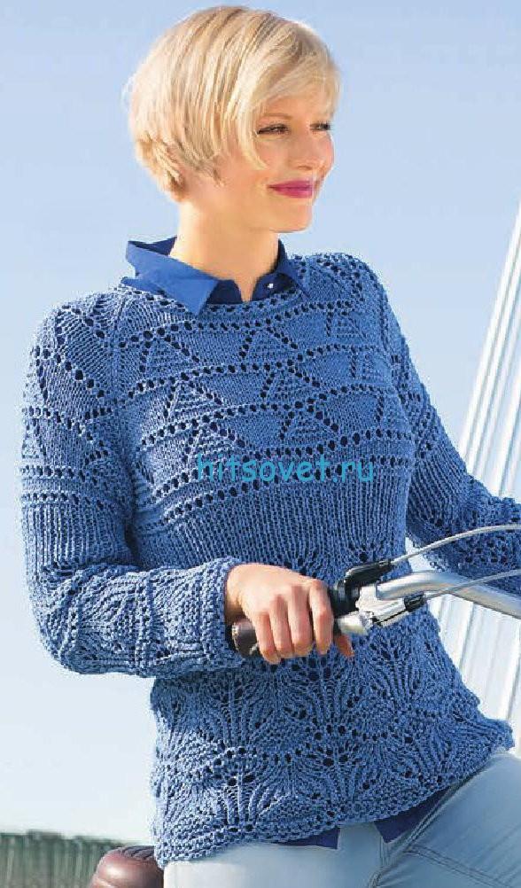 Вязаный пуловер реглан женский