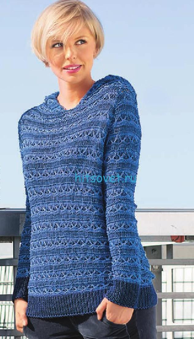 Вязание пуловера с двухцветным рельефным узором, фото.