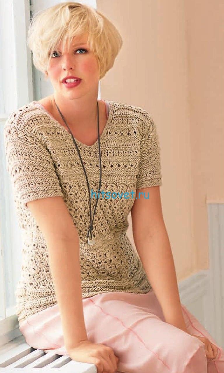 Узорчатый пуловер с короткими рукавами