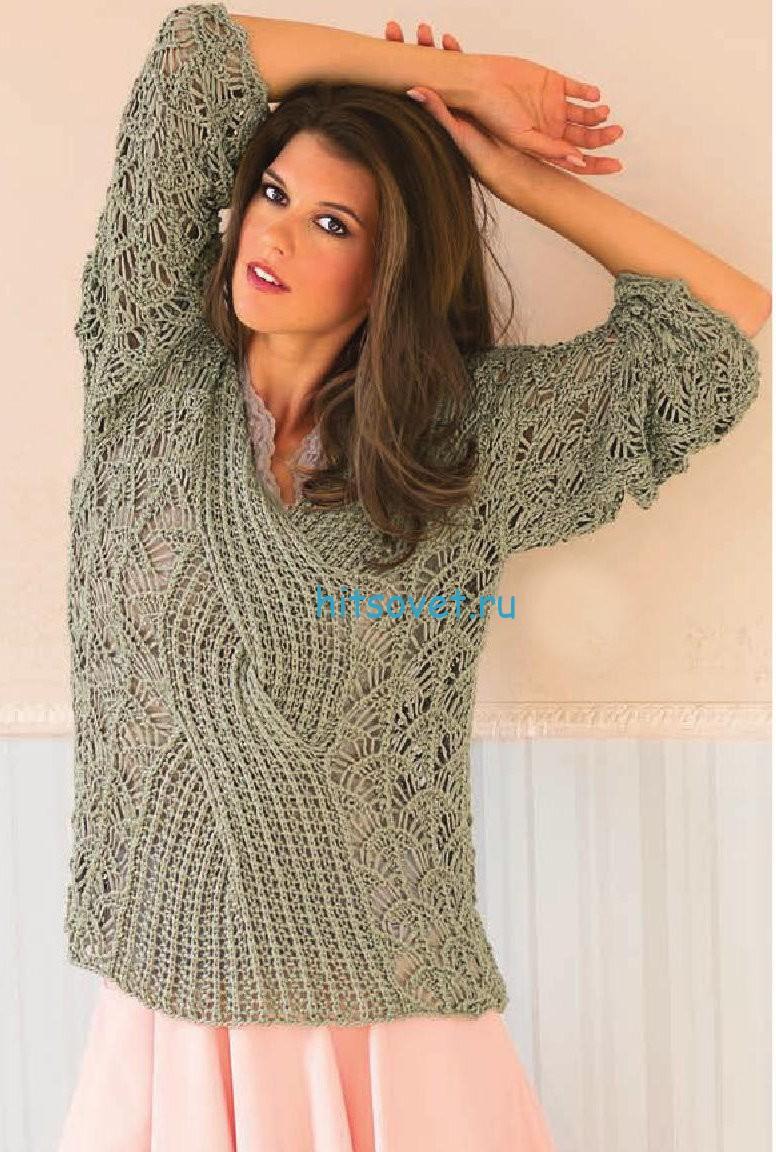 Кружевной пуловер с центральной косой, фото.