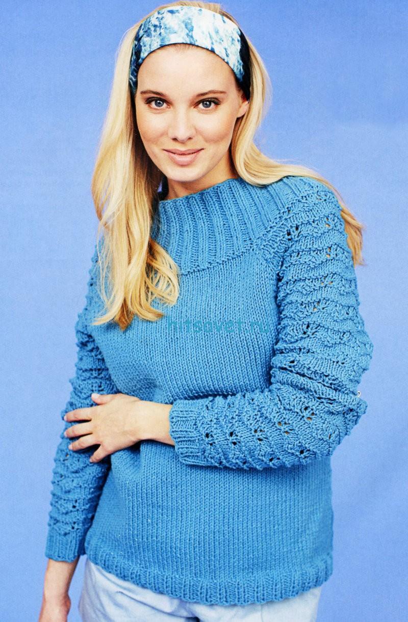 Вязание пуловера с воротником кокеткой, фото 1.