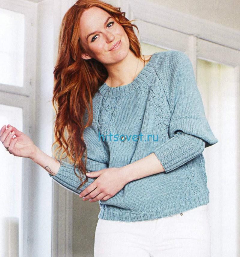 Вязание пуловера с регланными косами