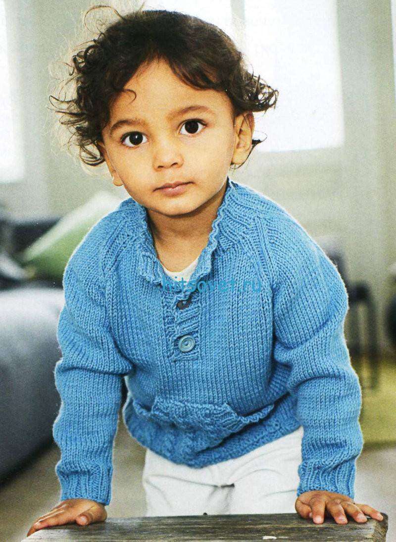 Вязание для мальчика пуловера с карманом кенгуру
