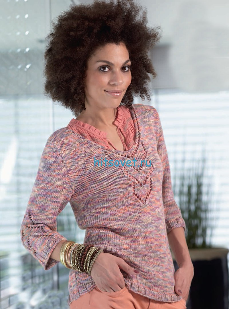 Вязание пуловера с ажурным узором из меланжа