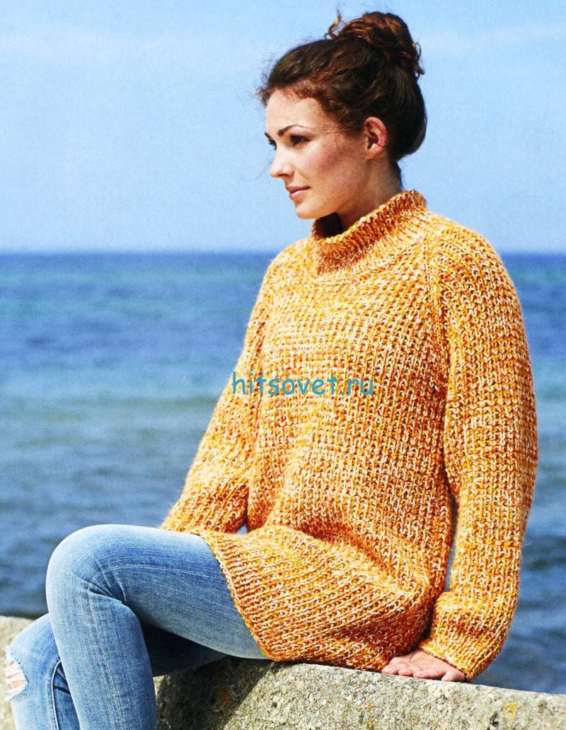 Свободный вязаный свитер, фото.