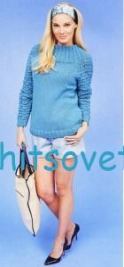 Вязание пуловера с воротником кокеткой, фото 2.