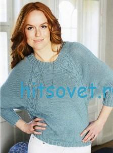 Вязание пуловера с регланными косами, фот 2.