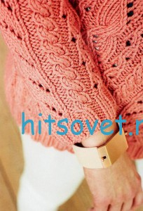 Ажурный пуловер с косами схема с описанием, фото 2.