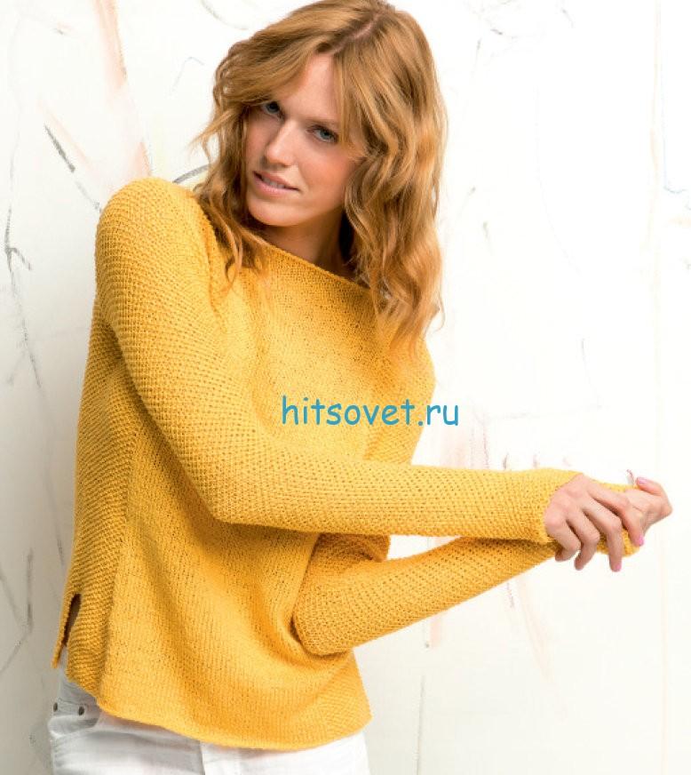 Женский стильный пуловер спицами, фото.