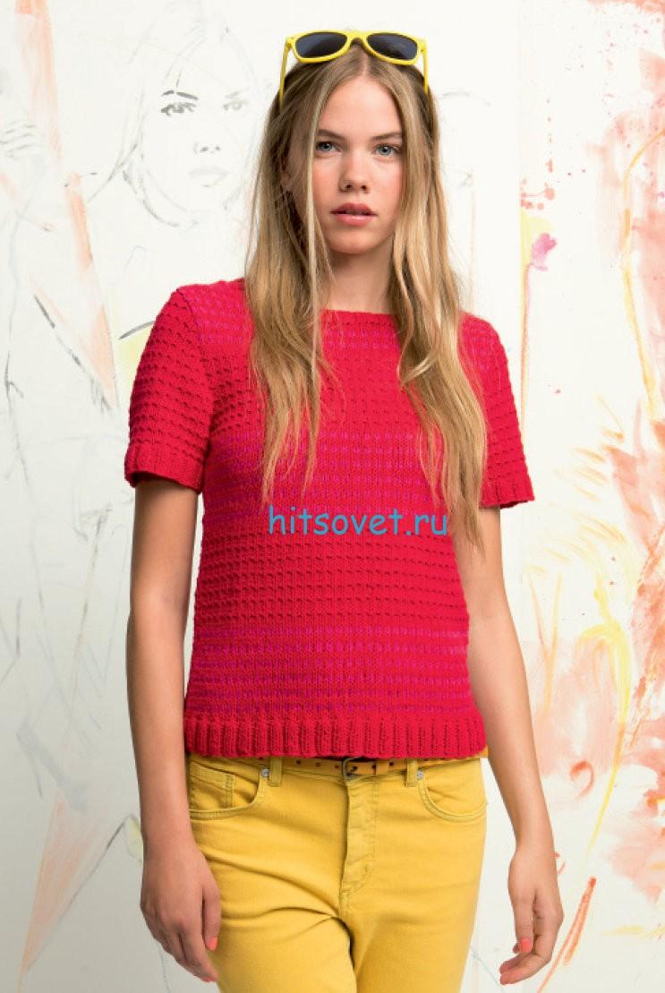 Вязание пуловера с короткими рукавами с описанием