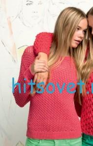 Женский пуловер спицами из пряжи MOINA